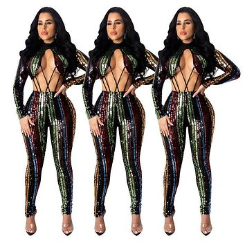 Women Sexy Sequined Long Sleeve Hollow Out Fashion Jumpsuit