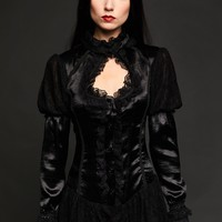 Fear of the Dark High Neck Black Lace Blouse