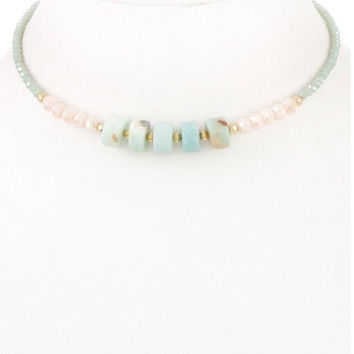 Glass bead semi-stone barrel choker necklace