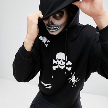 ASOS Oversized Hoodie With Halloween Print at asos.com