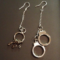 Silver plated handcuf and key dangle earrings. Police officer wives or girl friends gift.