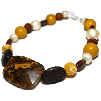 OOAK Sunflower Inspired beaded necklace by chumaka on Etsy
