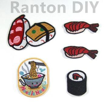 1PCS Cute Sushi Noodle Food Drinks Embroidered Patch Iron On Patch for Clothing Baby Clothes Applique Glue Iron Patches for DIY