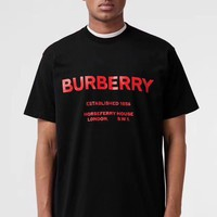 Burberry 2019 new classic letter printing men and women round neck loose T-shirt black