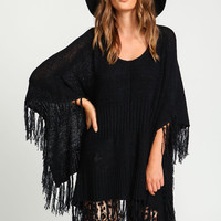 Fringe Poncho Knit Sweater