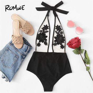 6dd229b1c5a55 Romwe Sport Flower Embroidery Halter Mesh Swimsuit Sexy Beach Swimsuits Clothing  2018 Women Summer One-