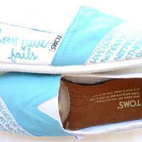 The Rickie  Light Blue and White Custom TOMS by FruitfulFeet