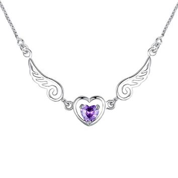 New Fashion Women Girls Jewelry Silver Plated Zircon Angel Wing Necklace Pendant Crystal   Love Heart Chain Necklace Gift