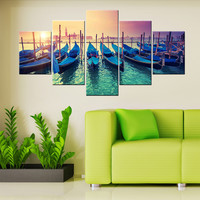 5 Panel Modern Art Canvas Painting Sunset Venice Gondolas Wall Pictures For Living Room&bedroom HD Print Home Decor