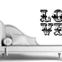 Vinyl Wall Decal Love Valentines Day Retro Shabby Chic Style D 22378
