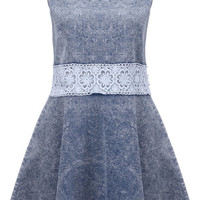 ROMWE | Splicing Hollow-out Light-blue Dress, The Latest Street Fashion