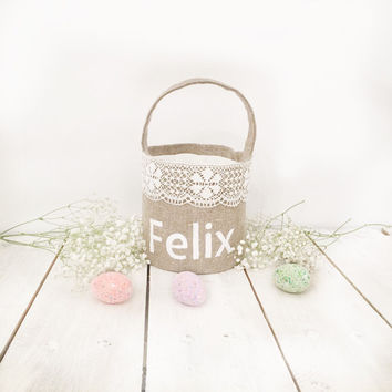 Personalized Easter Basket  kids personalized easter basket Girl's Easter Basket Boys Easter Basket Monogram Name Egg Hunt Spring Home Decor
