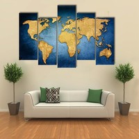 Beautiful Textured World Map Multi Panel Canvas Wall Art