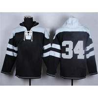 Black #34 American Football Sweater American Football Hoodies  Winter Football Wears Sports Team Outerwear Jackets Christmas