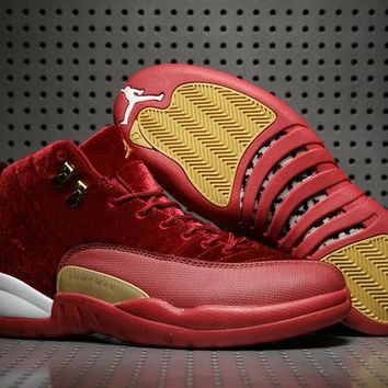cfb1bd488b39ad Air Jordan Retro 12 Red Velvet Men Basketball Shoes 12s Velvet W