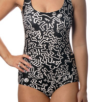 Black and White Squiggle Art One-Piece Women's Swimsuit Design 5019