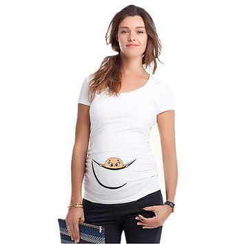 """New Design """"baby peeking out"""" Casual Maternity Shirt specialized for prgnant women plus size XXL girls t-shirt"""