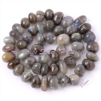 Free Shipping 8-12mm Freeform Shape Gray Labradorite Spacer Beads Natural Stones For Necklace Bracelat Jewelry Making Strand 15""