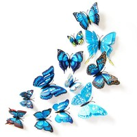 12pcs 3D Dimensional Double Butterfly Home Decor Fridge Refrigerator Magnet Butterfly Wall Stickers for Home Party Decoration