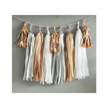 Paper Garland & Metallic Mini Tassels - 20 Tassel DIY Kit - Silver Sand White Rose Gold Foil - Wedding Decor Party Bridal Shower Birthday