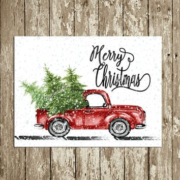Retro Christmas Decor Vintage Christmas decor Merry Christmas Print Printable Christmas Party Wall Decor Watercolor Truck Christmas trees