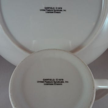 Garfield Plates and Mugs SET OF TWO
