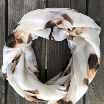 Pugg Infinity Scarf, Pugg Dog Infinity Spring Scarf, Ugly Pugly Puggle Pug Infinity Loop Around Scarf Cream and Brown, Pug Infinity Scarf