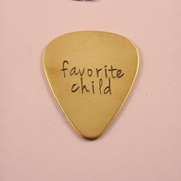"""favorite child"" Hand stamped Guitar Pick - READY TO SHIP"
