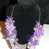 Classic Purple Cluster Statement Necklace