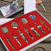Legend Of Zelda Shield & Sword Weapons Pendant Set: 11 Piece - Free Shipping