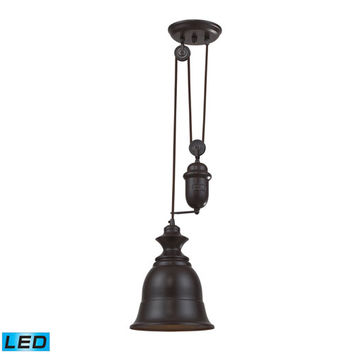 Elk Lighting 65070-1-LED Farmhouse Oiled Bronze Pulley Adjustable Height LED One Light Mini Pendant