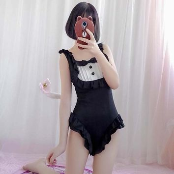Summer Girls Women One Piece Swimsuits Japanese Style Cute Sweet Maid Sexy Beach Swimwear Quick Dry Backless Female Beachwear
