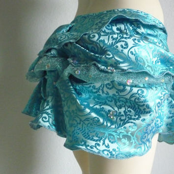 Amazing Bustle Skirt turquoise STEAMPUNK Burlesque Victorian Belly DancePixie Skirt Size Small