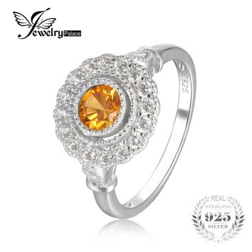 JewelryPalace Retro 1.1 ct Created Orange Sapphire Round Ring 925 Sterling Silver Wedding Rings For Women Brand New Fine Jewelry