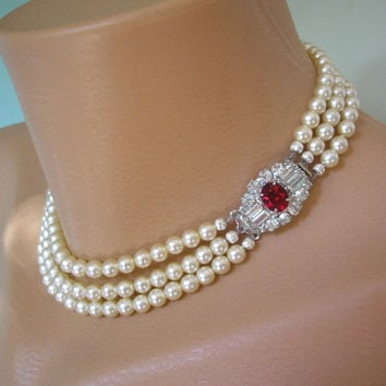 Pearl Choker Pearl Necklace Mother of the Bride Bridal Jewelry Great Gatsby Jewelry Ruby Choker Wedding Jewelry Pearl And Ruby Necklace