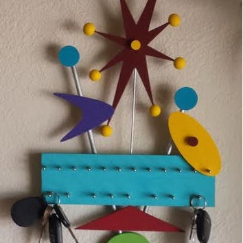 Jewelry Key Hanger made from Recycled Piano wood in Googie Art Style Bright Colors
