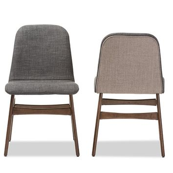Baxton Studio Embrace Mid-century Retro Modern Scandinavian Style Dark Grey Fabric Upholstered Walnut Wood Finishing Dining Chair Set of 2
