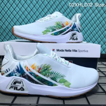 AUGUAU F005 Fila Summer New Floral Print Running Shoes White