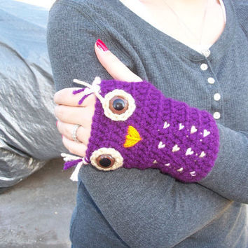 Crochet owl armwarmer fingerless gloves you by jwhizcrochet