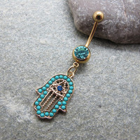 Blue hamsa hand belly button ring , belly button jewelry,friendship belly rings,summer jewelry