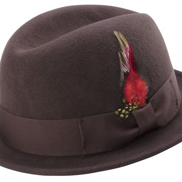 Brown Men's Stingy Snap Brim Fedora Hat Hard Felt Center Crease With Feather Accent By Montique H-53
