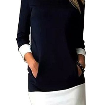 Joeoy Women's Colorblock 3/4 Sleeve Crew Neck Shift Dress