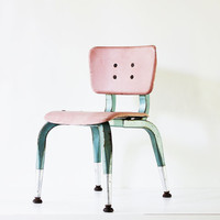 Take a Seat - Vintage Chair - School - Classroom - Kids - Pastel - Atomic - Pink - Mid Century - Blue - Industrial - Fiberglass - Furniture