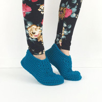 Crochet Peacock Blue Slippers, Knitted Slippers, crochet house shoes, womens aqua blue slippers, simple womens slippers, plain slippers