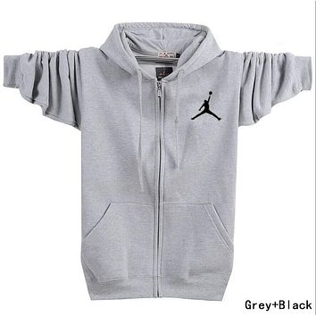 Jordan Fashion Women Men Long Sleeve Print Zipper Hoodie Coat Sweater Top Grey