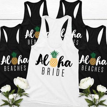 Pineapple Bachelorette Party Shirts (8) | Aloha Beaches, Aloha Bride Tank Top Bride & Bridesmaid Tank Tops Set of 8