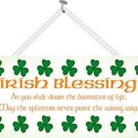 Irish Blessing Inspirational Sign with Green Clover Border