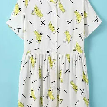 White Banana Print Short Sleeve Pleated Shift Mini Dress
