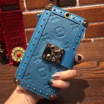 LV iPhone7 holster Messenger iphone mobile shell 6plus luxury case hanging collar holding card package card Blue