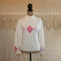 Womens White Turtleneck Sweater Pastel Pink Argyle Sweater Cotton Small Medium Womens Sweaters Retro Vintage Clothing Womens Clothing